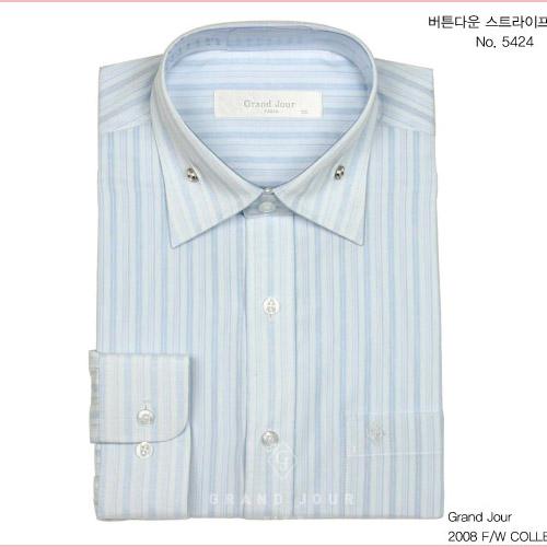 그랑주르 버튼다운 스트라이프 셔츠 제품사진