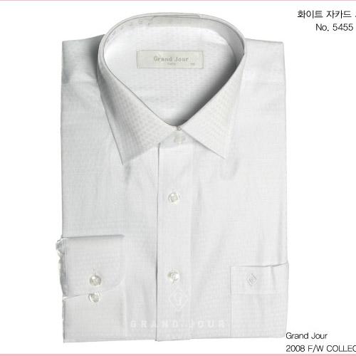 그랑주르 화이트 자카드 셔츠 제품사진